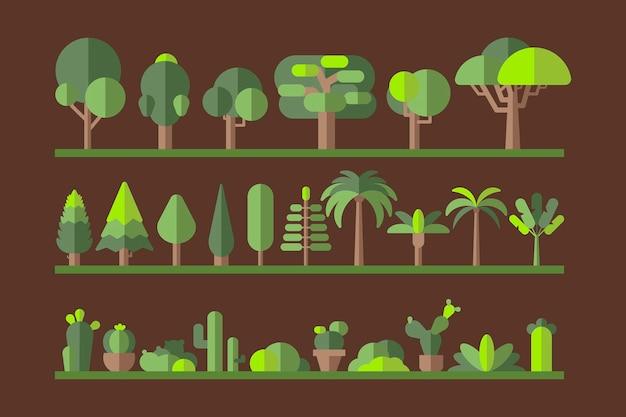 Coleção de árvores planas de botânica verde em um rack