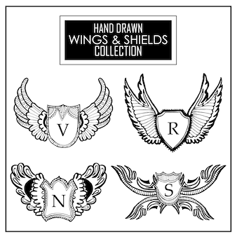 Coleção de asas e escudos