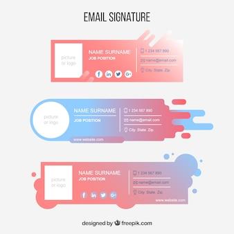 Coleção de assinatura de e-mail em cores gradientes