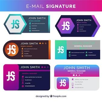 Coleção de assinatura de e-mail em estilo gradiente