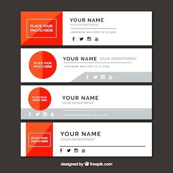 Coleção de assinatura de e-mail em estilo simples