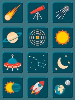 Coleção de astronomia plana colorida e ícones do espaço