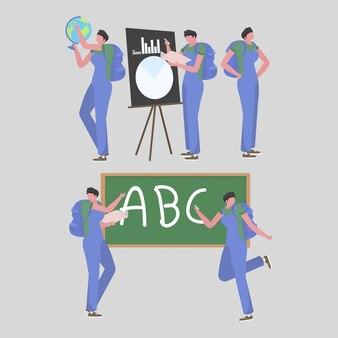 Coleção de atividades de professoras masculinas na escola