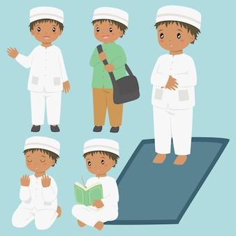 Coleção de atividades diárias do menino afro-americano muçulmano