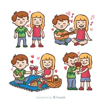 Coleção de atividades do casal dia dos namorados