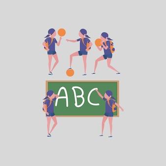 Coleção de atividades estudantis de meninas na escola