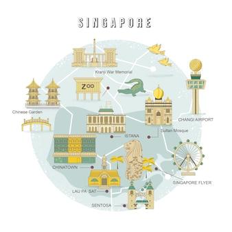 Coleção de atrações imperdíveis em cingapura em estilo simples