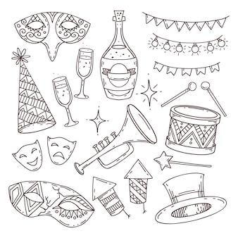 Coleção de atributos de carnaval em estilo doodle em fundo branco, símbolos de carnaval veneziano