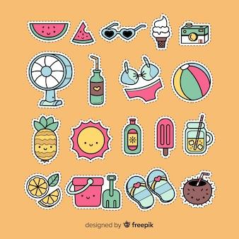 Coleção de autocolantes de verão kawaii