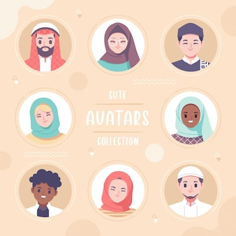 Coleção de avatar colorido fofo
