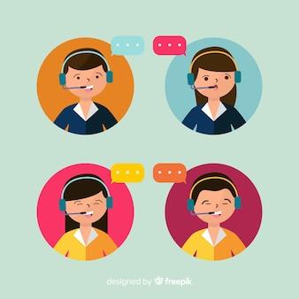Coleção de avatar de agente de call center com design plano