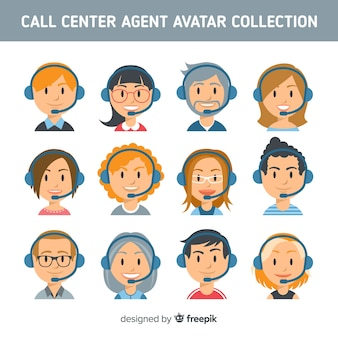 Coleção de avatar de centro de chamada criativa