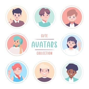 Coleção de avatar de design plano