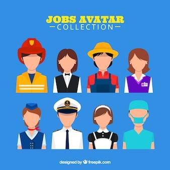 Coleção de avatar de empregos com estilo moderno