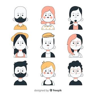 Coleção de avatar de pessoas desenhadas a mão