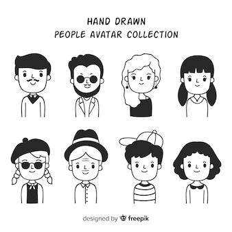 Coleção de avatar de pessoas dos desenhos animados