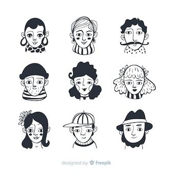 Coleção de avatar de pessoas incolor de mão desenhada