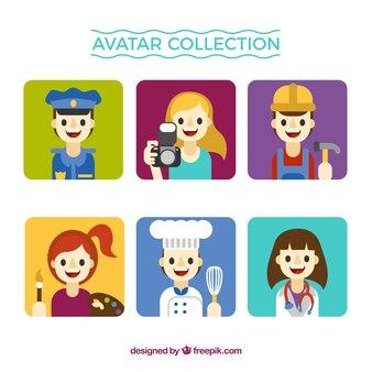Coleção de avatar de trabalhadores bonitos