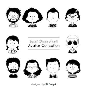 Coleção de avatar desenhado de mão