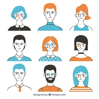 Coleção de avatar moderno com estilo colorido