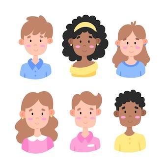 Coleção de avatares de jovens diferentes
