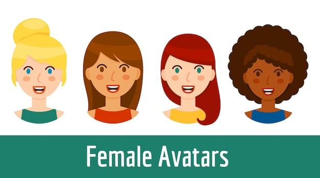 Coleção de avatares de mulheres diferentes isolada no fundo branco. retratos de menina bonita sorridente em estilo cartoon - loira, morena, cabelo ruivo e menina negra. ilustração vetorial.