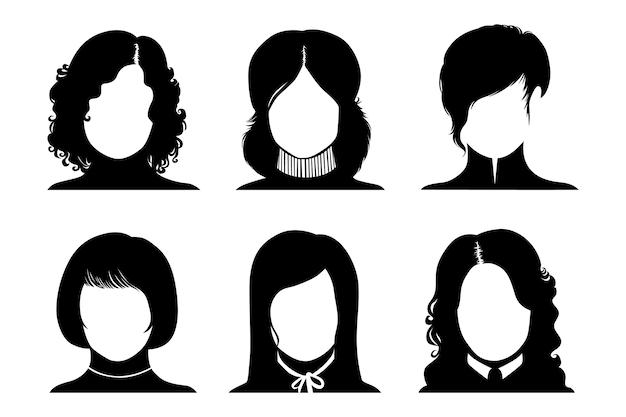 Coleção de avatares de mulheres sem rosto com diferentes estilos de cabelo