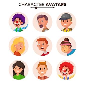 Coleção de avatares de personagens de pessoas.