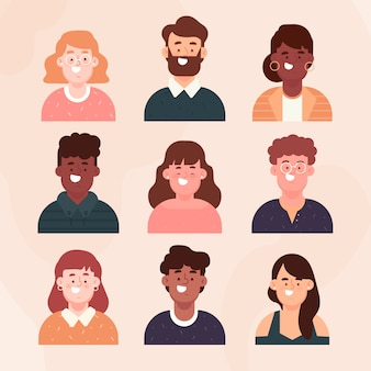 Coleção de avatares de pessoas de design plano