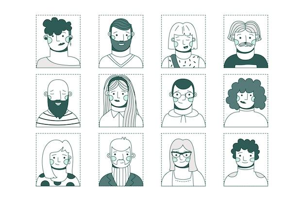 Coleção de avatares de pessoas diferentes