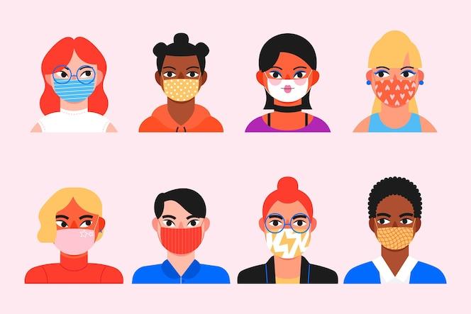 Coleção de avatares de pessoas usando máscaras médicas
