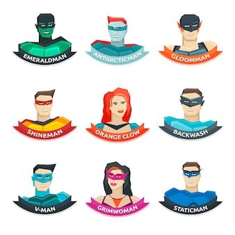 Coleção de avatares de super-heróis