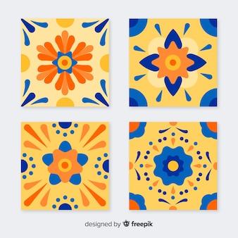 Coleção de azulejos coloridos com design plano
