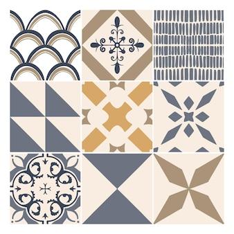 Coleção de azulejos decorativos abstratos