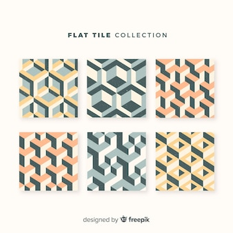 Coleção de azulejos em estilo plano