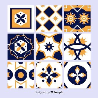 Coleção de azulejos laranja e azul
