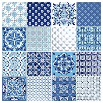 Coleção de azulejos portugueses ornamentados tradicionais. ornamento de folclore étnico.