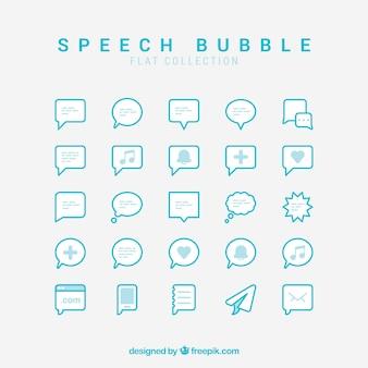 Coleção de balão de diálogo em design plano