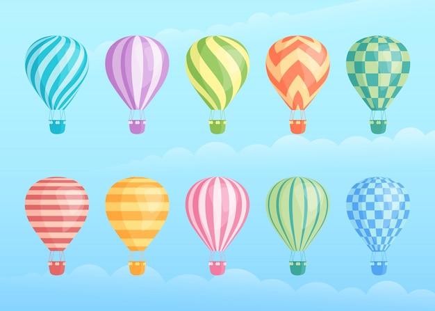 Coleção de balões de ar quente coloridos