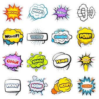 Coleção de balões de fala coloridos em quadrinhos
