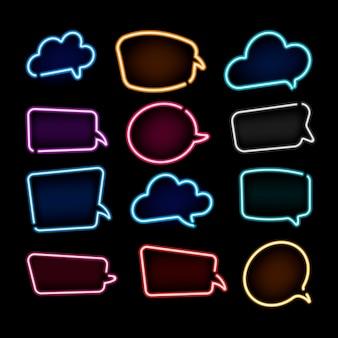 Coleção de balões de fala em néon colorido com espaço para texto