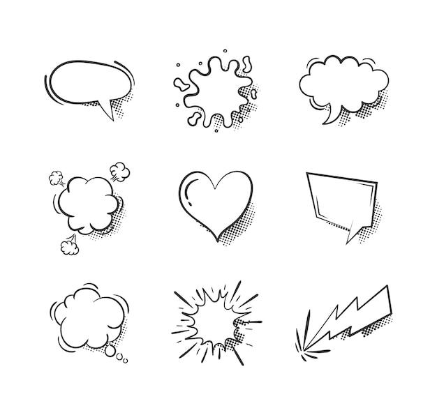 Coleção de balões de fala em quadrinhos vazios sobre fundo branco.
