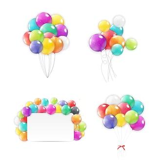Coleção de balões de férias definir ícones.