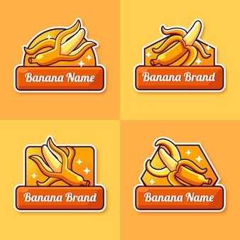 Coleção de banana com modelo de logotipo de fita