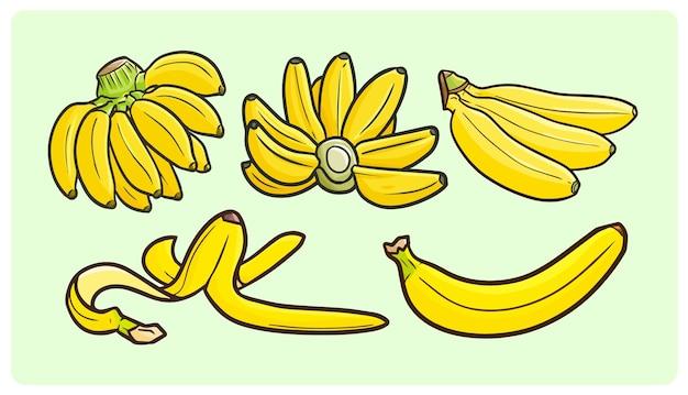 Coleção de bananas frescas e saborosas em estilo doodle simples