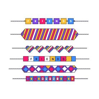 Coleção de bandas coloridas de amizade