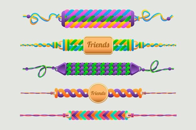 Coleção de bandas de amizade coloridas