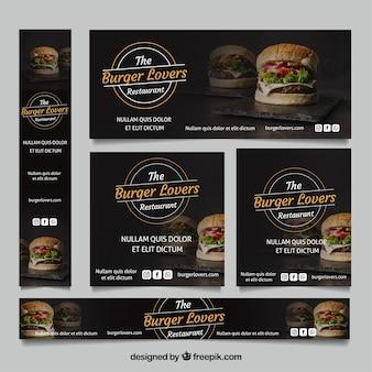 Coleção de bandeira burger restaurante com fotos