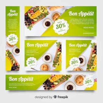 Coleção de bandeira de comida de papelaria com imagens