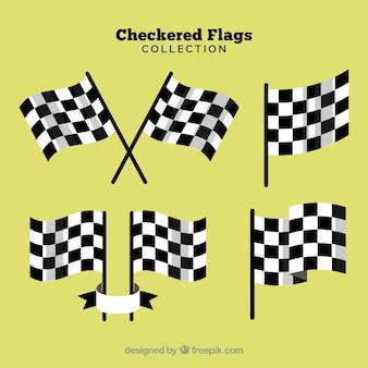 Coleção de bandeira de corrida quadriculada com design realista